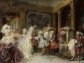 ヨーロッパ絵画 貴族・貴婦人 652L 98×78  ロココ額絵  送料無料