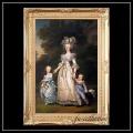 ヨーロッパ名画 マリーアントワネットファミリー キャンバス印刷複製画 アクリル付 ゴールド大型フレーム 83×113 ver2  送料無料