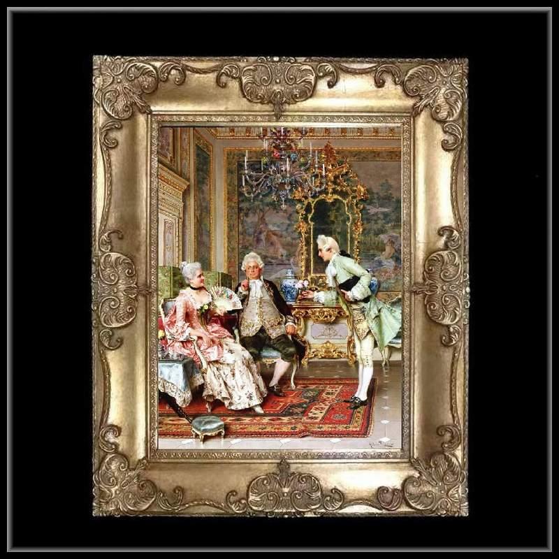 ロココ調 ゴールドダブルフレーム 貴族の額絵 キャンバス印刷 Sサイズ45/55cm  Mサイズ55cm/65cm  43  送料無料