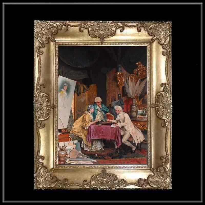 ロココ調 ゴールドダブルフレーム 貴族の額絵 キャンバス印刷 Sサイズ45/55cm  Mサイズ55cm/65cm  47  送料無料