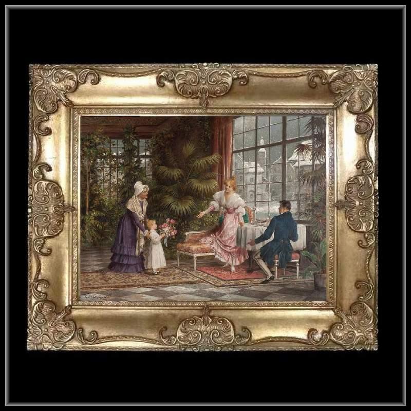 ロココ調 ゴールドダブルフレーム 貴族額絵 キャンバス印刷 Sサイズ55/45cm  Mサイズ65cm/55cm  48  送料無料