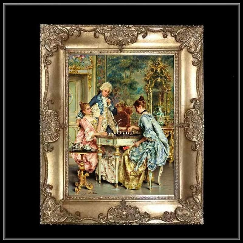 ロココ調 ゴールドダブルフレーム 貴族の額絵 キャンバス印刷 Sサイズ45/55cm  Mサイズ55cm/65cm  49  送料無料