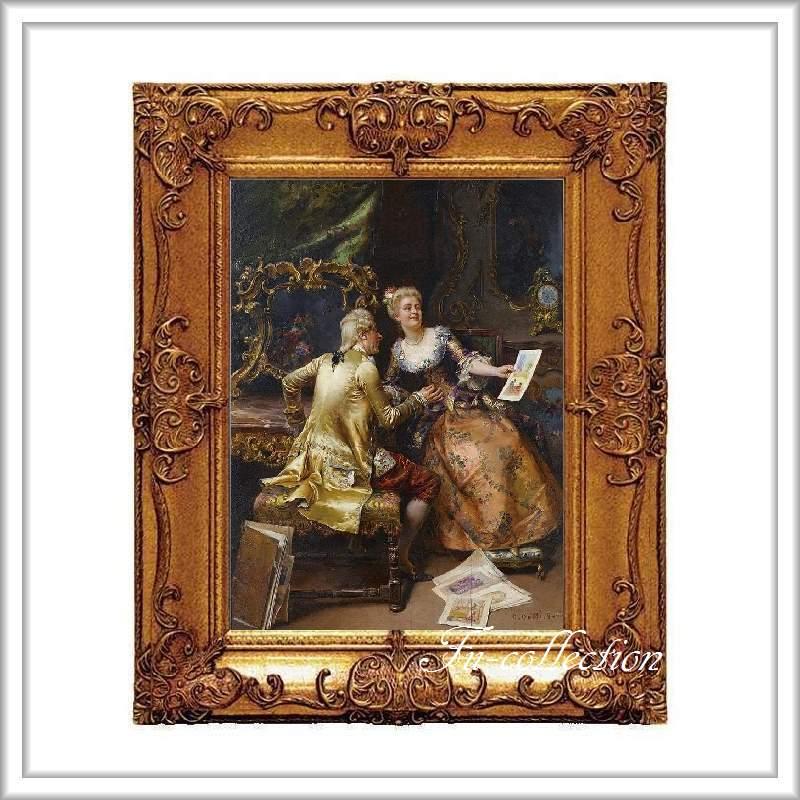 ロココ調 ゴールドダブルフレーム 貴族の額絵 キャンバス印刷 Sサイズ45/55cm  Mサイズ55cm/65cm  354  送料無料