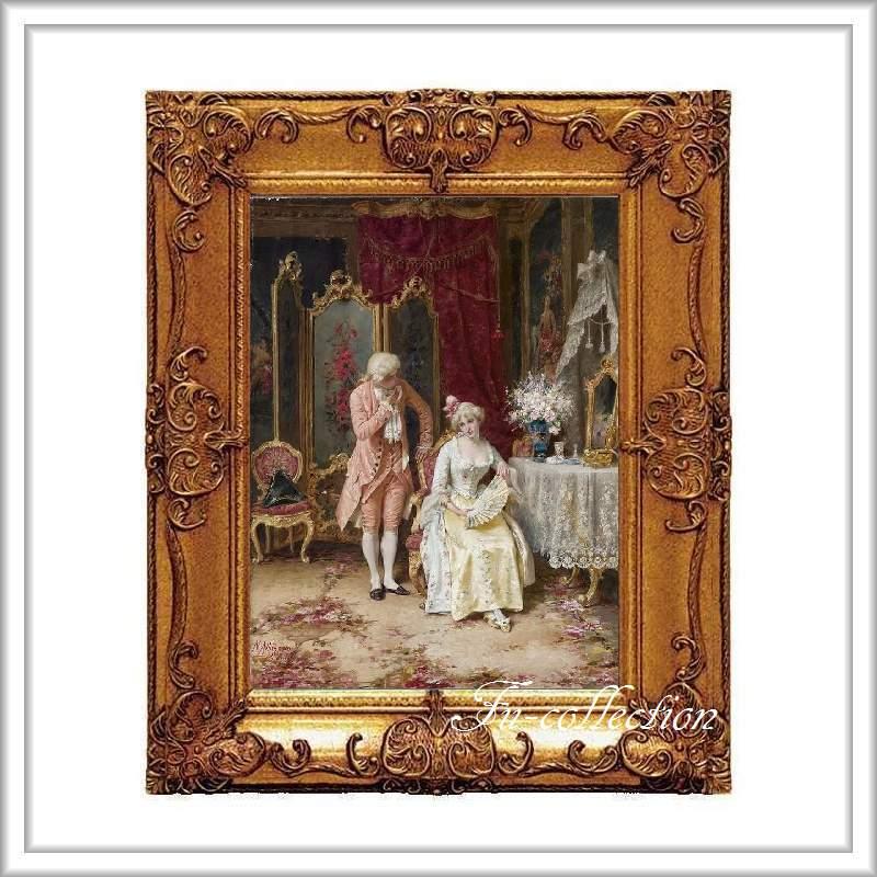 ロココ調 ゴールドダブルフレーム 貴族の額絵 キャンバス印刷 Sサイズ45/55cm  Mサイズ55cm/65cm  804  送料無料