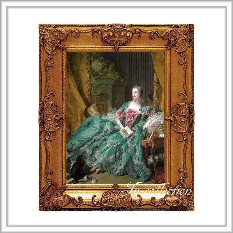 ロココ調 ゴールドダブルフレーム ポンパドール夫人額絵 キャンバス印刷 Sサイズ45/55cm  Mサイズ55cm/65cm  po1  送料無料