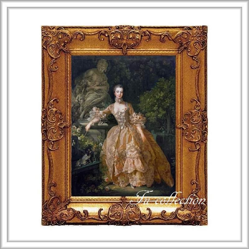 ロココ調 ゴールドダブルフレーム ポンパドール夫人額絵 キャンバス印刷 Sサイズ45/55cm  Mサイズ55cm/65cm  po2  送料無料