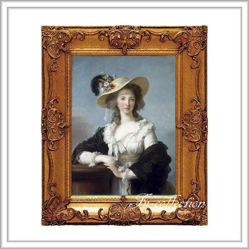 ロココ調 ゴールドダブルフレーム 貴族額絵 キャンバス印刷 Sサイズ45/55cm  Mサイズ55cm/65cm  385  送料無料