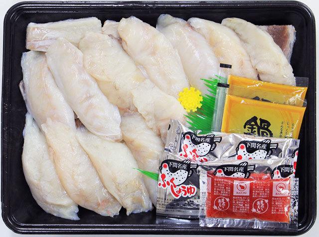 まふぐちり鍋用500g。三枚卸にしてあるので骨がなく食べ易いのも特徴です。