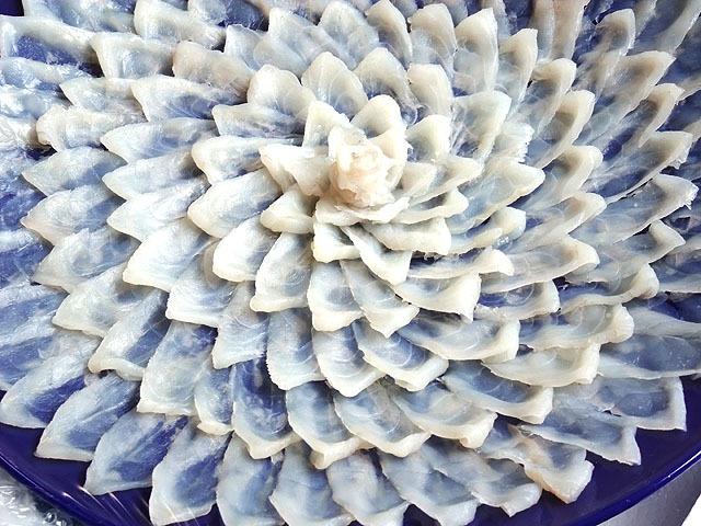 びっしりと詰まった菊盛りのとらふぐ刺身