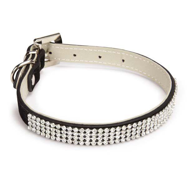 EAST SIDE COLLECTION VELVET RHINESTONE DOG Leads & Collars Set/Black