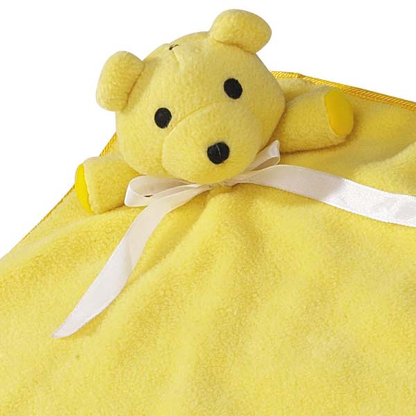 ZANIES SNUGGLE BEAR BLANKETS/Yellow