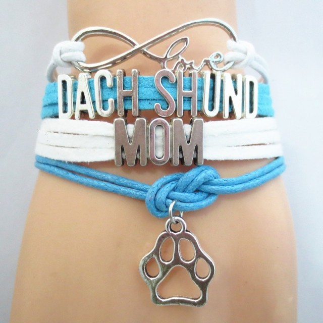 Dachshund Mom Bracelet/Blue