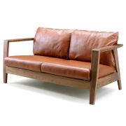 """本革置クッション長椅子""""ローズマリー"""" ウオルナットの美しいフレーム、岩倉榮利デザイン"""