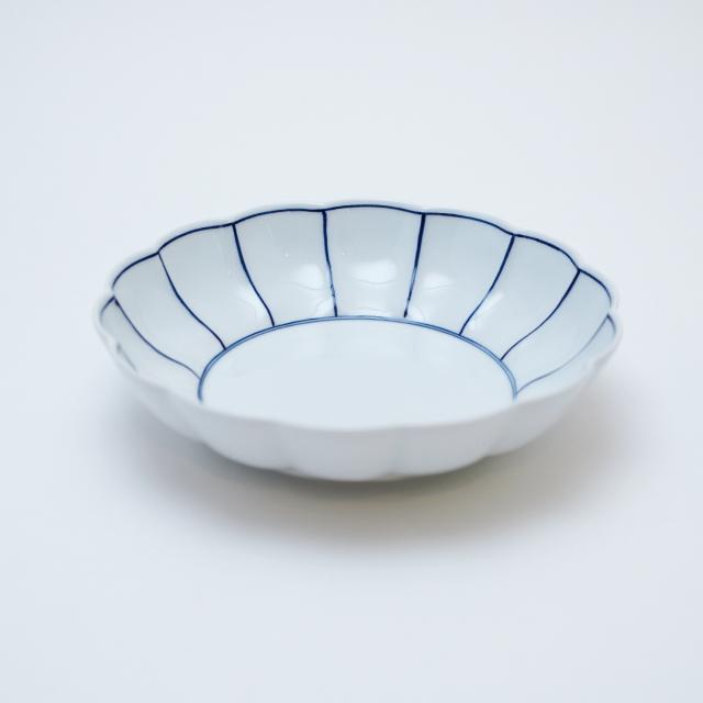 染付ふちどり線菊割平鉢 有田焼 皓洋窯 藤正 おとなの日々器 皿 菊割
