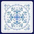 フジ紙コースター 青の花飾り