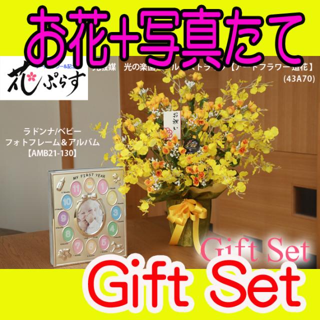 《出産祝い》花ぷらす《ベビーフォトフレーム&アルバム》ゴールドストライク43A70-amb21-130ギフトセット