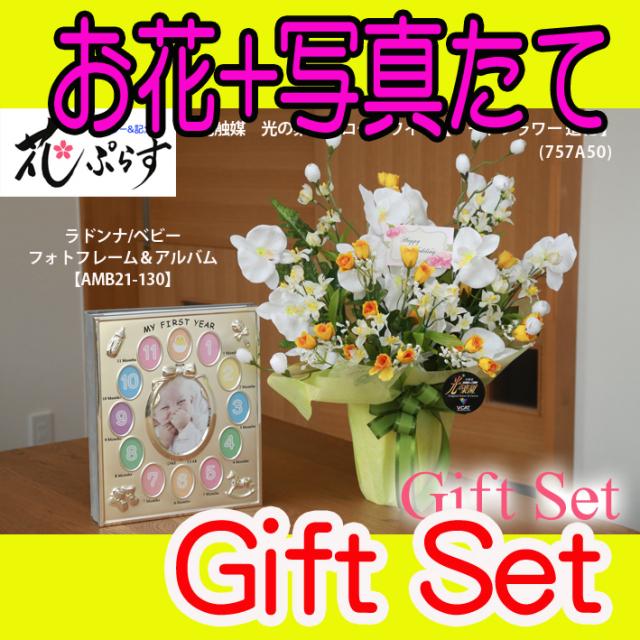 《出産祝い》花ぷらす《ベビーフォトフレーム&アルバム》メローホワイト胡蝶蘭757A50-amb21-130ギフトセット