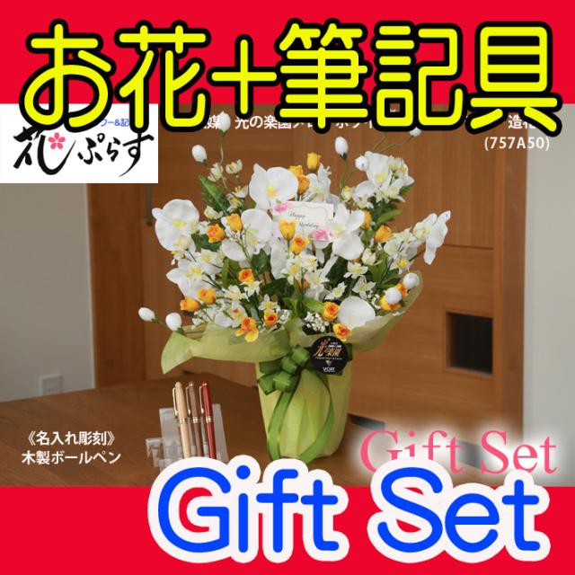 《退職祝い》花ぷらす《木製ボールペン》メローホワイト胡蝶蘭【ペン名入れ彫刻】757A50-mokupenギフトセット