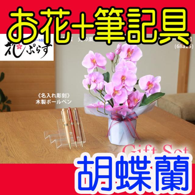 《退職祝い》花ぷらす《木製ボールペン》ファレノ胡蝶蘭【ペン名入れ彫刻】68a25-mokupenギフトセット