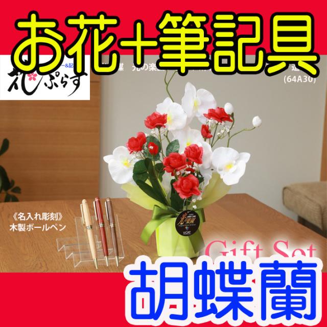 《退職祝い》花ぷらす《木製ボールペン》ブライト胡蝶蘭【ペン名入れ彫刻】64A30-mokupenギフトセット
