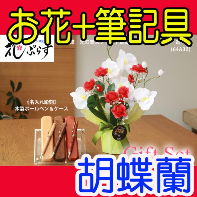 《退職祝い》花ぷらす《木製ボールペン&ケースセット》ブライト胡蝶蘭【ペン&ケース名入れ彫刻】64A30-mokupensetギフトセット