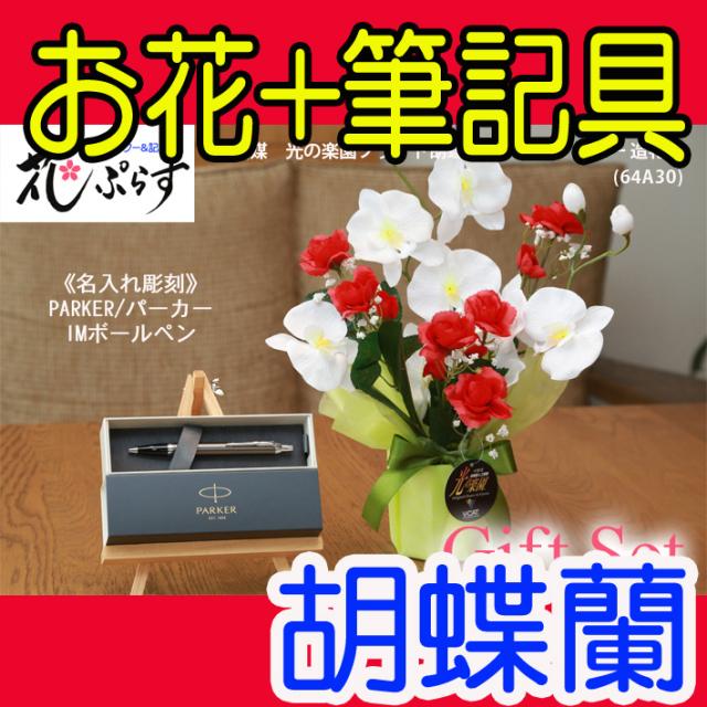花ぷらす《PARKER,IMボールペン》ブライト胡蝶蘭【ペン名入れ彫刻】64A30-parkerimctギフトセット