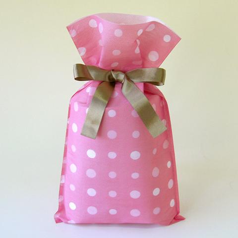 不織布巾着袋リボン付 ドット(ピンク)