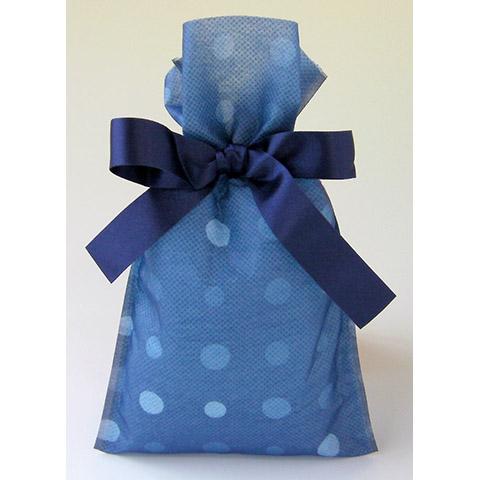 不織布巾着袋リボン付 みずたまSSブルー