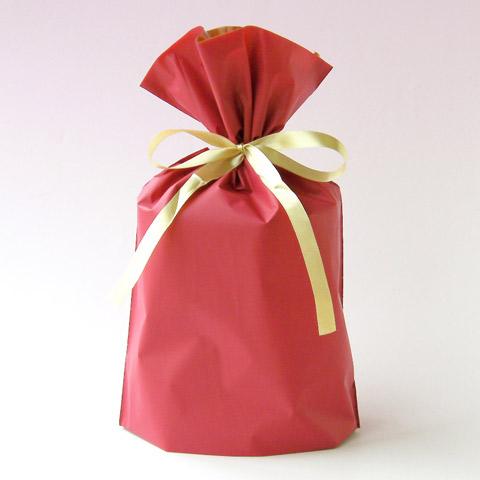 梨地巾着袋 レッド