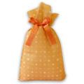 不織布巾着袋リボン付 みずたまLオレンジ