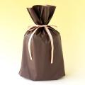 梨地巾着袋 ブラウン