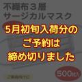 不織布3層サージカルマスク(KN95)ホワイト(500枚入)締切