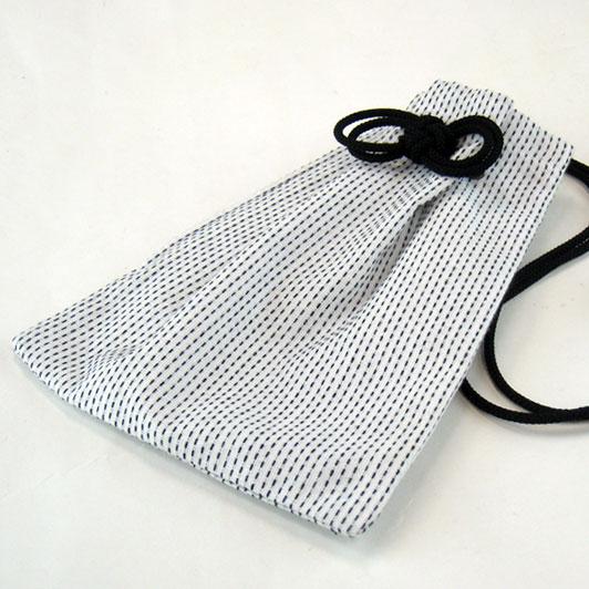 【白黒】刺子織巾着