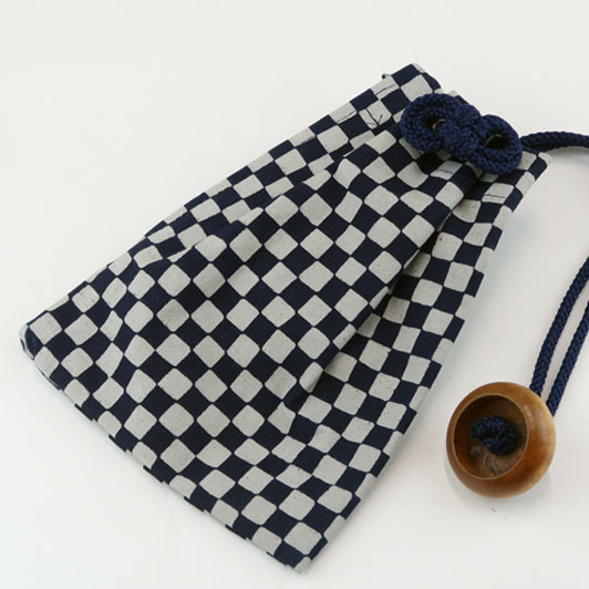 【No.9】藍染柄巾着