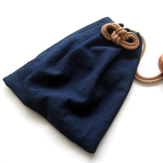 【小粋 スラブ織藍染】巾着