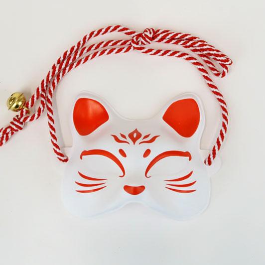 【猫面 紅白】飾りミニお面