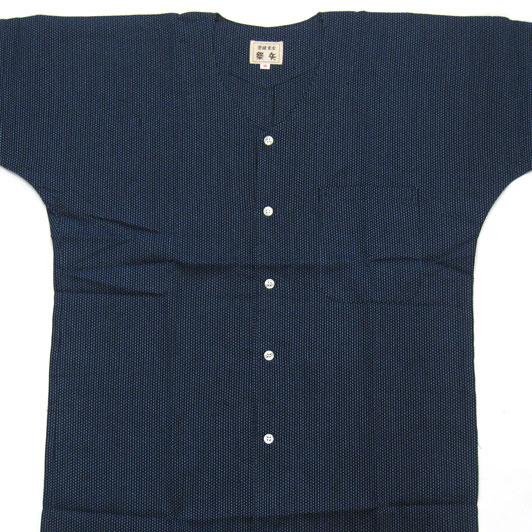 【紺紺】刺子織鯉口シャツ 小〜大