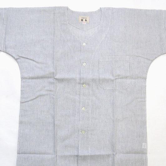 【祭矢 白黒】刺子織鯉口シャツ 小~大