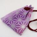 【麻の葉 紫】ちりめん巾着