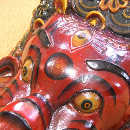 インド神様 富と知恵の象頭神ガネーシャの木彫りマスク
