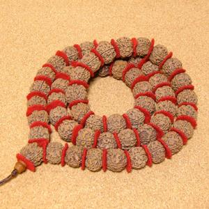 [1連54粒+親玉1個]インド菩提樹ルドラクシャ数珠カンタ(5面・21mm・オイル仕上げ)