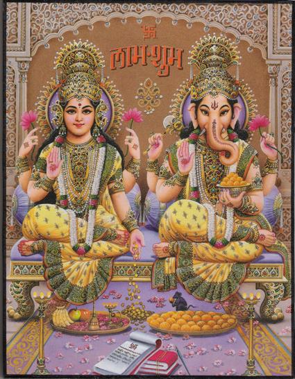 インド神様 壁掛けパネル-智恵と富の象頭神ガネーシャ&富の神ラクシュミー