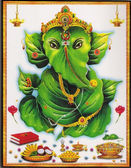 インド神様 壁掛けパネル-智恵と富の象頭神ガネーシャ 菩提樹の葉バージョン