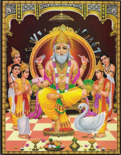 インド神様 壁掛けパネル-宇宙創造の主宰神ブラフマー