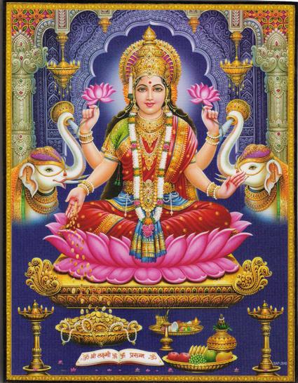 インド神様 壁掛けパネル-富の神ラクシュミー