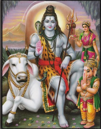 インド神様 壁掛けパネル-破壊と畏怖・恩恵の至高神シヴァ&聖牛ナンディン