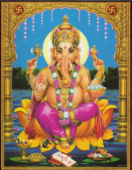インド神様 壁掛けパネル-智恵と富の象頭神ガネーシャ