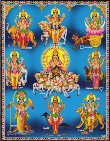 インド神様 壁掛けパネル-ヒンズーの神様大集合!
