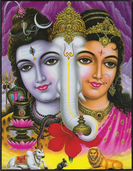 インド神様 壁掛けパネル-シヴァ&パールヴァティー&ガネーシャ
