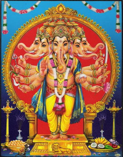 インド神様 壁掛けパネル-智恵と富の象頭神 最強五頭のガネーシャ